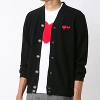 PLAY new street fashion embroidered double red heart button coat