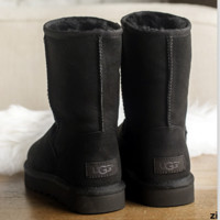 """UGG"" Women Fashion Wool Snow Boots Calfskin Shoes simple Black"