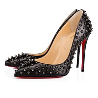 Christian Louboutin Cl Follies Spikes Black/black Gun Leather 17s Pumps 1171032b142 -