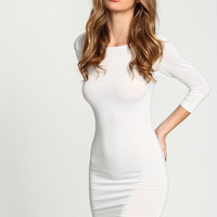 WHITE KNIT TEE DRESS