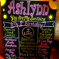 You Are My Sunshine Birthday Chalkboard - First Birthday Poster You Are My Sunshine - 1st Birthday Chalkboard - First Birthday Sign - Poster