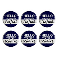 Rafael Hello My Name Is Plastic Resin Button Set of 6