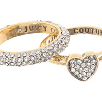 Juicy Couture Juicy At Heart Pave Heart Duo Ring