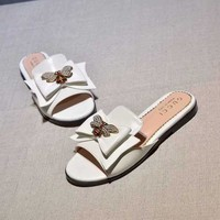 Gucci Butterfly White Casual Fashion Women Sandal Slipper Shoes
