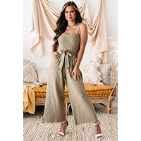 With Glorious Purpose Smocked Front Wide Leg Jumpsuit (Mocha)