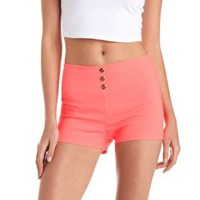 Stretchy Neon High-Waisted Shorts by Charlotte Russe - Hot Coral