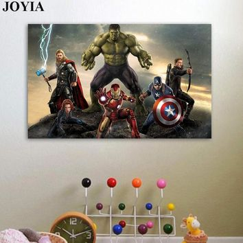 Marvel Movie Super Heroes Poster, Avengers Age Of Ultron Wall Picture, Canvas Fabric Art Prints Thor Hulk For Boy Bedroom Decor