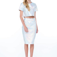 Lustrous Holographic Cropped Top