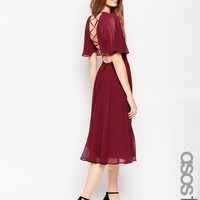 ASOS TALL Lace Up Back Caftan Sleeve Midi Dress