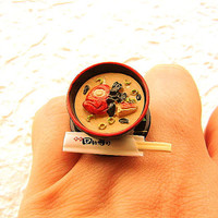 Kawaii Cute Japanese Food Ring Miso Soup by SouZouCreations