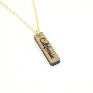 Personalized Custom Dainty Wood Vertical Bar Engraved Name Gold Chain Necklace Unique Gift for Her