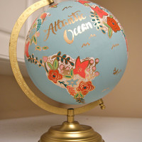 "Custom 12"" World Globe, Hand Painted Flowers, Gold Stand, Flower Map"