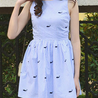 Blue Striped Embroidery Whale Pattern Sleeveless Mini Skater Dress