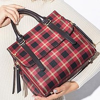 Hipgirls Fashion New Plaid Leather Shopping Leisure Shoulder Bag Crossbody Bag Handbag Women