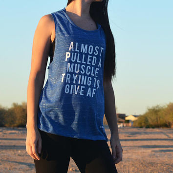 Women's Muscle Tank, Women's Sleeveless Tank, Almost Pulled a Muscle, Funny Workout Shirt, Loose Workout Shirt Flowy, Funny Gym Tank Muscle