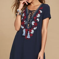 Lyrical Winds Navy Blue Embroidered Lace-Up Dress