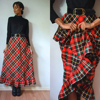 Vtg Belted Plaid Red Green Black LS Maxi Holiday Retro Dress