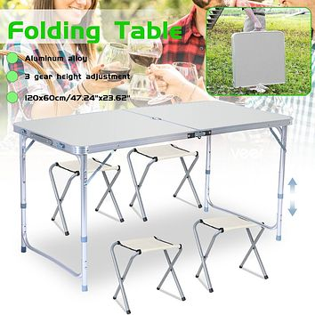 4 Person Outdoor Folding Table Chair Camping Aluminium Alloy Picnic BBQ Table Waterproof Durable Folding Table Desk 120x60cm