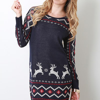 Deer Fair Isle Knit Dress