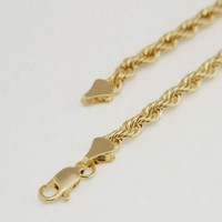 Jewelry Kay style Men's Brilliant Heavy Rope Chain Necklace High End Quality 14K Gold Plated