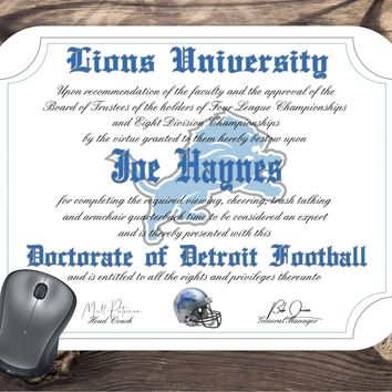 Detroit Lions Ultimate Football Fan Personalized Diploma Mouse Pad