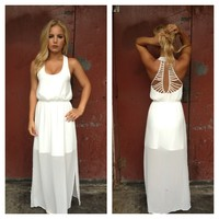 White Double Slit Maxi Dress with Open Strappy Back