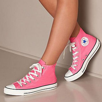 """Converse"" Fashion Canvas Flats Sneakers Sport Shoes High tops Pink"