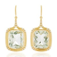 18K Gold, Green Amethyst and White Diamond Earrings | Moda Operandi