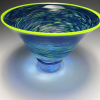 Blue and Chartreuse Blown Glass Bowl by KennethMarineGlass on Etsy