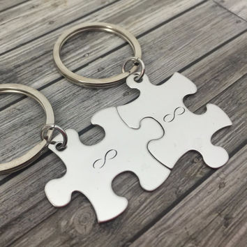 Infinity Keychains, Puzzle Piece Keychain for couples , Anniversary Gift