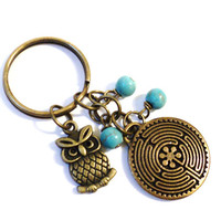 Turquoise Labyrinth Keychain Bag Charm Yoga Accessories Bohemain Owl Party Favors Gifts For Her Christmas Stocking Stufffer Under 20