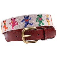Dancing Bears Needlepoint Belt in Oatmeal by Smathers & Branson