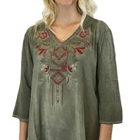 Andree by Unit 3/4 Sleeve Embroidered Top Olive Green