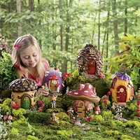 """Fairy Village Houses, Resin - Hand-painted - 9""""H - Set of 5"""