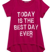 Red Wagon Baby 'Today Is the Best Day Ever' High/Low Tee (Little Girls)