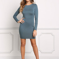 Dusty Blue Minimalist Bodycon Dress