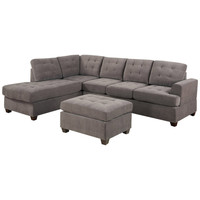 3 Piece Reversible Sectional Sofa with Ottoman in Charcoal Microfiber