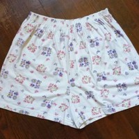 Women's 100% Cotton High Waist MOM Sleep Shorts Cream Floral Butterfly