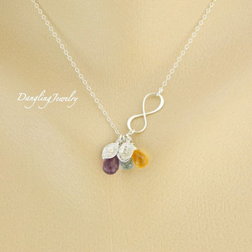 Three Initial Birthstone Necklace, Monogram Necklace, Infinity Necklace, Mother's Day Necklace, Best Friend, Sisters, Children Birthstone