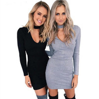 Fashion Women Long Sleeve V Collar Hip Dress