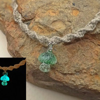 Glow In the Dark Green Mushroom Hemp Spiral Necklace with Fimo Mushroom Top 18 Inch Necklace
