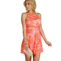 Sale-neon Floral On Floral Skater Dress