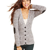Pink Rose Juniors Sweater, Long Sleeve Ribbed Elbow-Patch