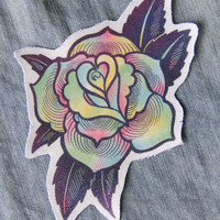 Psychedelic Rose Patch - Canvas Sew On for Women