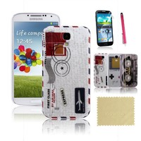 Koomos Retro Tape / CD Cassette Recorder + Gameboy + Airmail Envelope Hard Plastic case Combo Skin Case Back Cover For Samsung Galaxy S4 SIV i9500 and Free Accessory