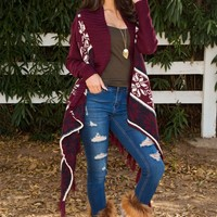 Warm Hearts Cardigan - Burgundy