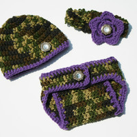 Purple and Camo Little Hunting Girl  Diaper Cover Hat and Headband set | Baby Booties | Baby Shower Gift | New Mom | Baby Photography |
