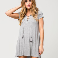 SOCIALITE Ribbed Lace Up Dress | Short Dresses