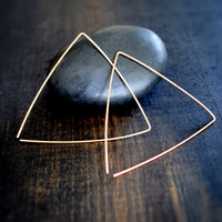 Triangle Hoop Earrings - Gold and Silver