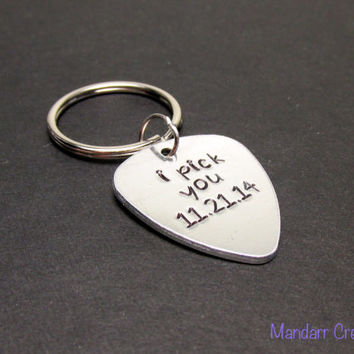 I Pick You, Guitar Pick Keychain with Custom Date, Hand Stamped Aluminum Key Chain, Anniversary Gift